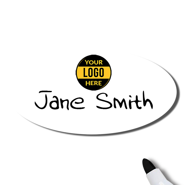 Customized Oval 1.5 x 3 Dry Erase Reusable Name Tag - Example