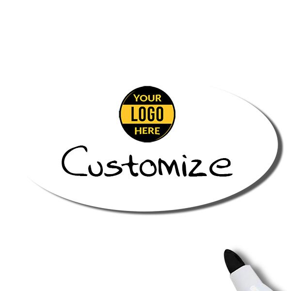 Customized Oval 1.5 x 3 Dry Erase Reusable Name Tag