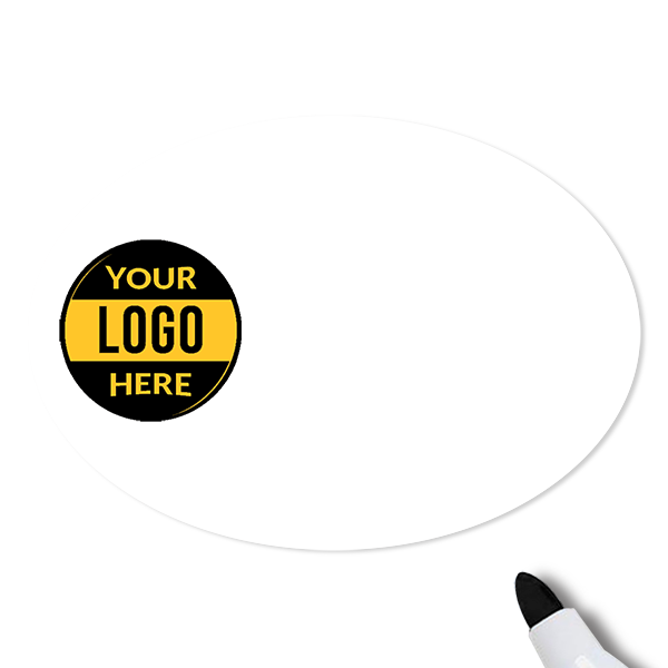 Customized Oval 1.75 x 2.5 Dry Erase Reusable Name Tag - Blank