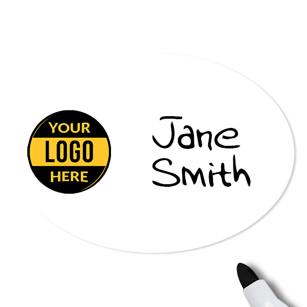 Customized Oval 1.75 x 2.5 Dry Erase Reusable Name Tag - Example