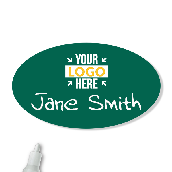 Customized Oval 1.75 x 3 Chalkboard Reusable Name Tag - Example