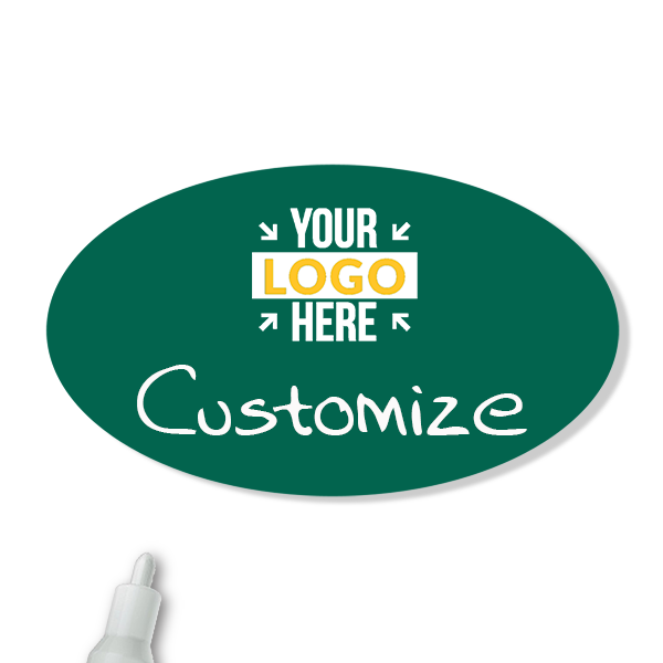 Customized Oval 1.75 x 3 Chalkboard Reusable Name Tag