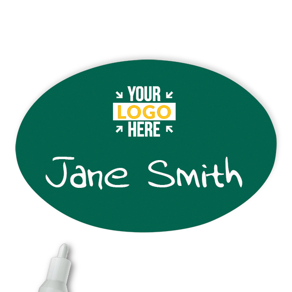 Customized Oval 2 x 3 Chalkboard Reusable Name Tag - Example