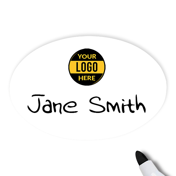 Customized Oval 2 x 3 Dry Erase Reusable Name Tag - Example