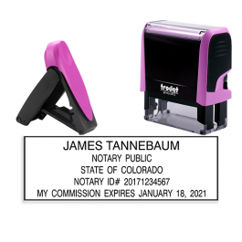 Colorado Pink Rectangle Notary Stamp
