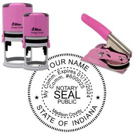 Indiana Notary Pink - Round Design