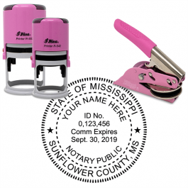 Mississippi Round Pink Notary Seal