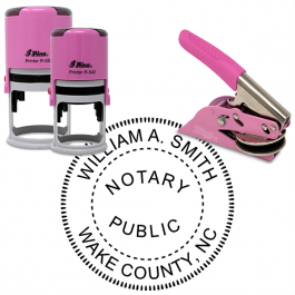 North Carolina Notary Pink - Round Design