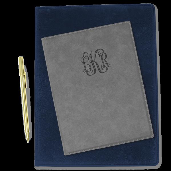 Center Monogram Leatherette Portfolio