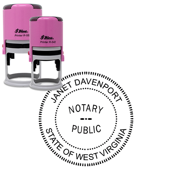 West Virginia Notary Pink Stamp - Round Design