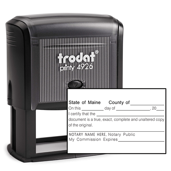 Maine Certified True Copy Notary Stamp