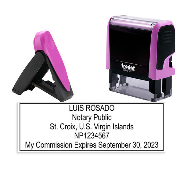 U.S. Virgin Islands Notary Pink Stamp - Rectangle