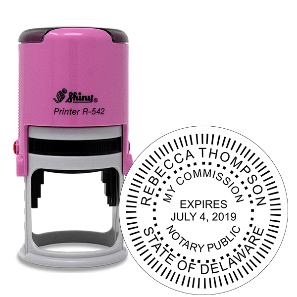 Delaware Notary Pink Stamp - Round