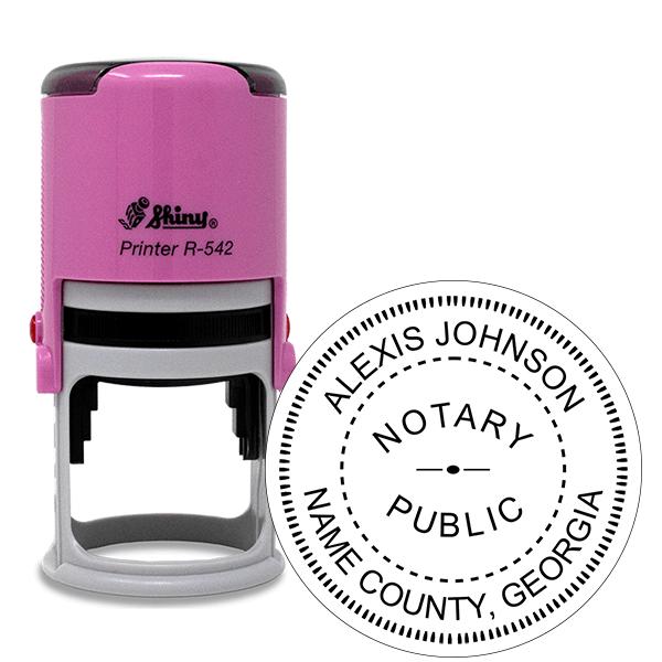 Georgia Notary Pink Stamp - Round