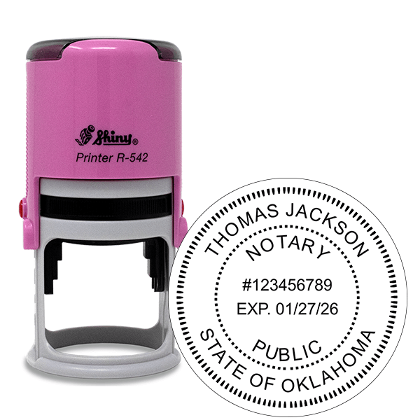 Oklahoma Notary Pink Stamp - Round