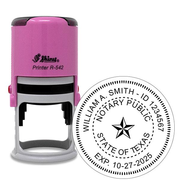 Texas Notary Pink Stamp - Round