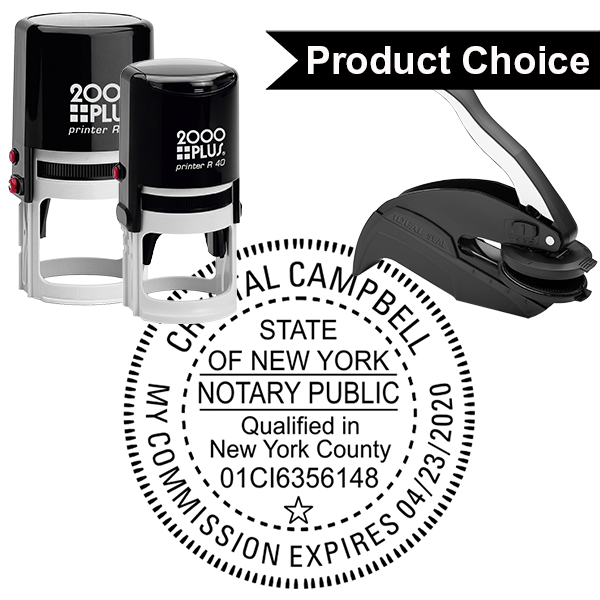 New York Notary Round with County and Expiration