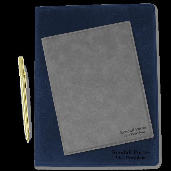 2 Line Custom Leatherette Folio