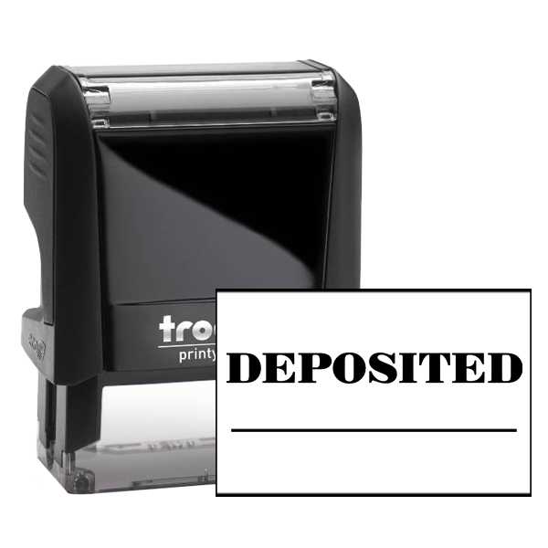 DEPOSITED Date Space Mobile Check Deposit Rubber Stamp
