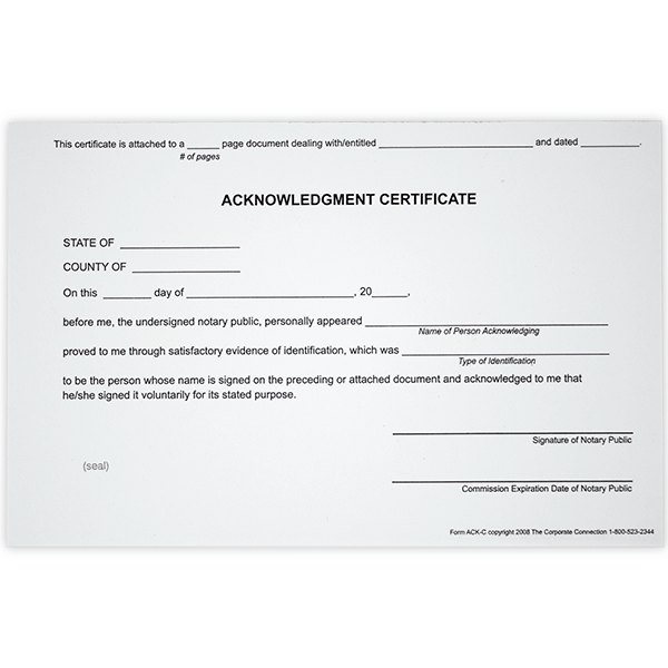 Acknowledgment Notary Certificates