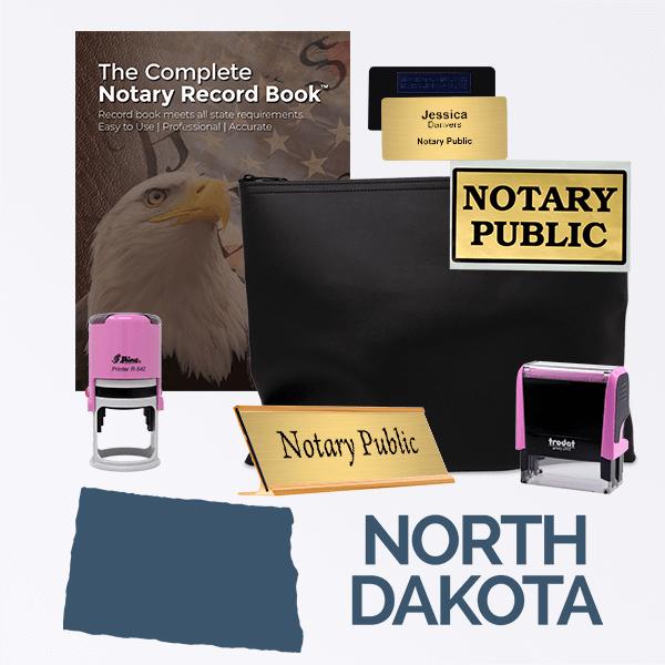 North Dakota Pink Deluxe Notary Kit