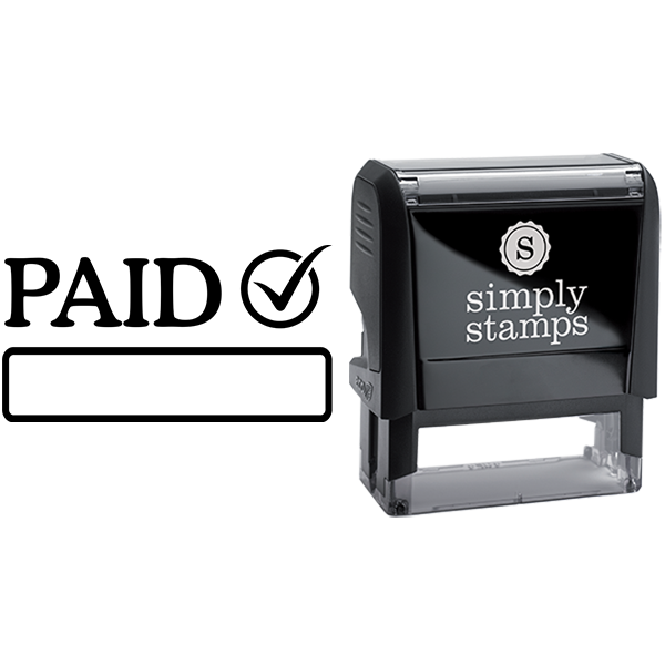 Paid with Checkmark and Custom Box Business Stamp