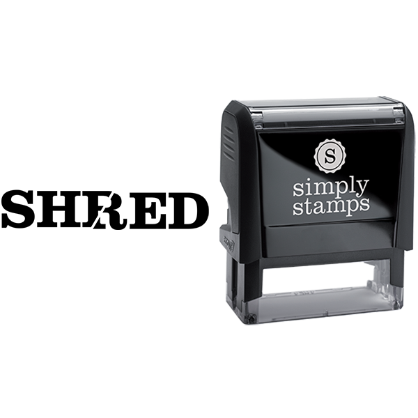 Shred with Text Cut in Half Business Stamp