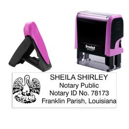 Louisiana Pink Rectangle Notary Stamp