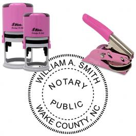 North Carolina Notary Pink - Round Design