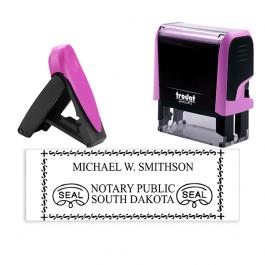 South Dakota Notary Pink Stamp - Rectangle