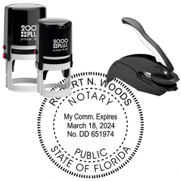 Florida Notary Notary Pink Stamp - Rectangle