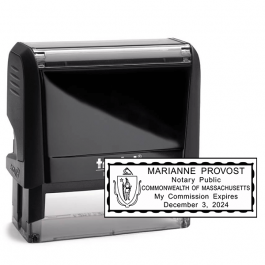 Massachusetts Notary Pink Stamp - Rectangle