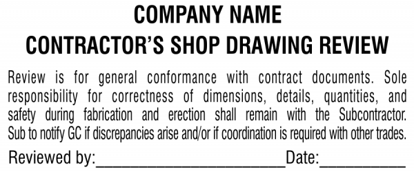 Plan & Blueprint Stamp - Contractor Shop Drawing Review