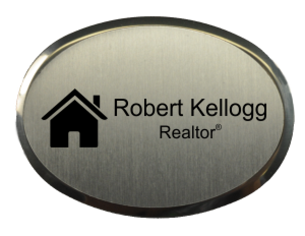"""Real Estate Oval Name Tag with Executive Holder (2.5"""" x 1.75"""")"""