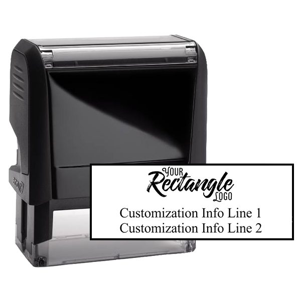 Rectangle Logo Custom Stamp with Two Lines of Text