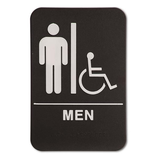 "Black Men's Handicap ADA Braille Restroom Sign | 9"" x 6"""