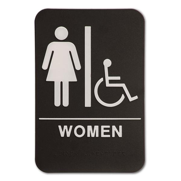 "Black Women's Handicap ADA Braille Restroom Sign   9"" x 6"""