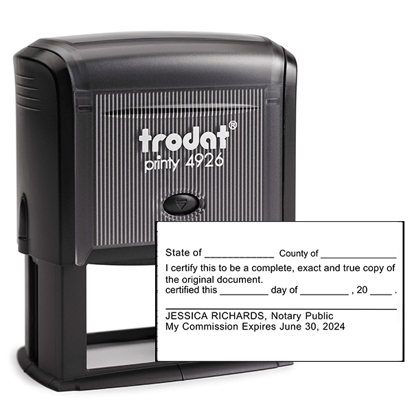 Certified True Copy Stamp for Notary Use