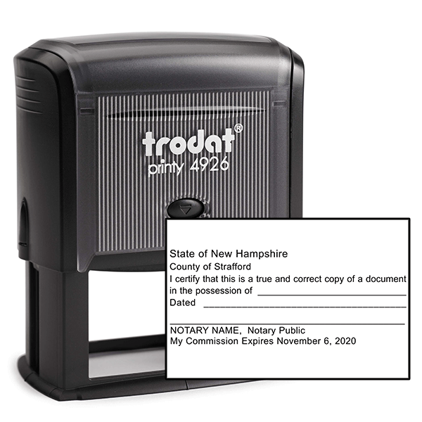 New Hampshire Certified True Copy Notary Stamp