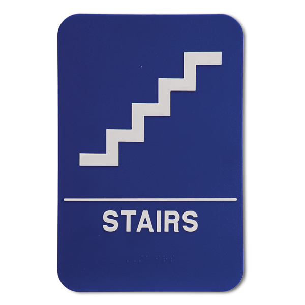 """Blue Stairs ADA Braille Sign 