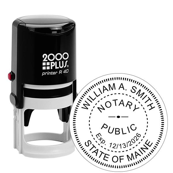 Maine Notary Round Stamp