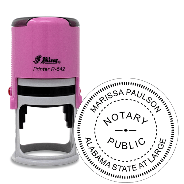 Alabama Notary Pink Stamp - Round