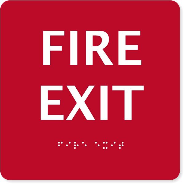 """ADA Fire Exit Sign   6"""" x 6"""""""