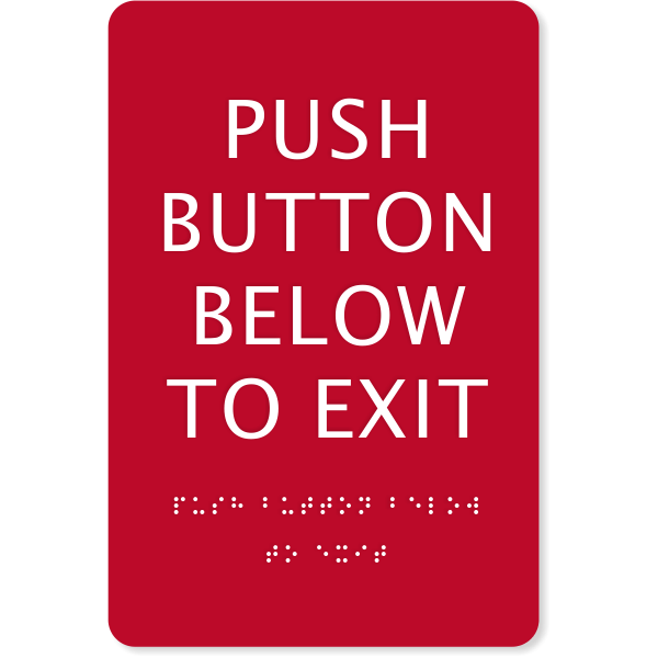 """ADA Braille Push Button Exit Sign   9"""" x 6"""""""