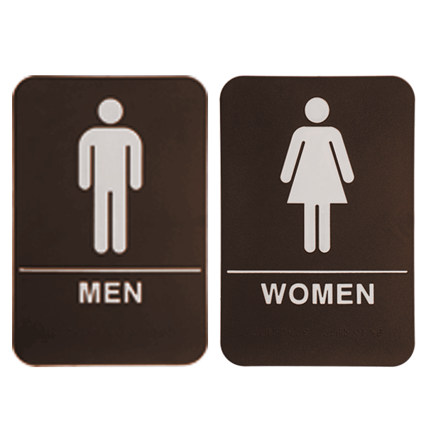"Brown ADA Braille Men's & Women's Restroom Sign Set | 9"" x 6"""