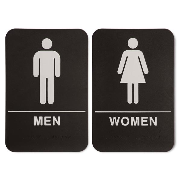 "Black ADA Braille Men's & Women's Restroom Sign Set | 9"" x 6"""