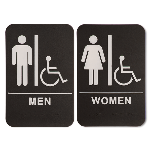 "Black ADA Braille Men's & Women's Handicap Restroom Sign Set | 9"" x 6"""