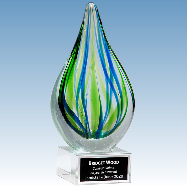 Donor Gift Blue-Green Droplet Shaped Art Glass Award