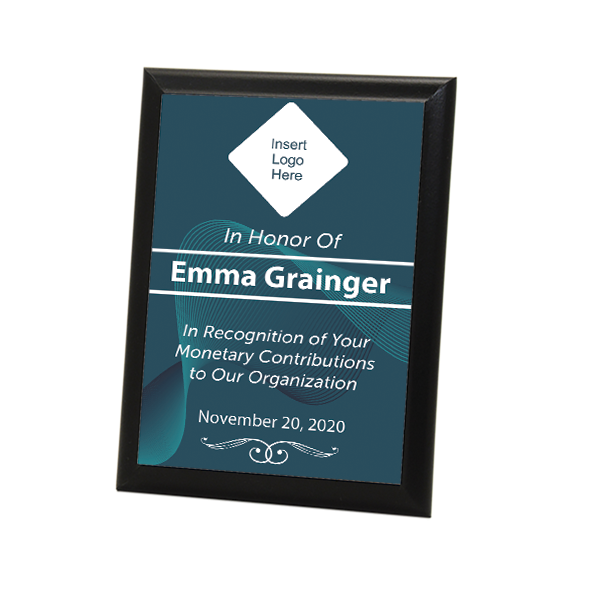 "Donor Recognition Full Color 5"" X 7"" Photo Plaque with Black Edge"