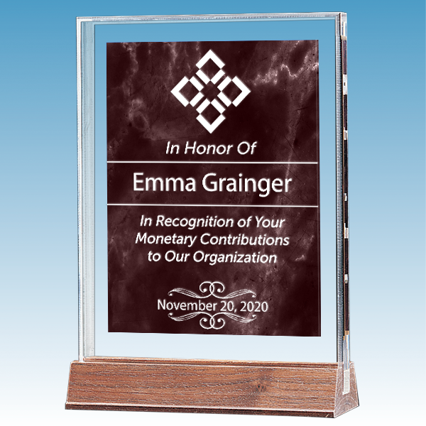 Donor Recognition Marble Ruby Polished Acrylic Award on Walnut Base